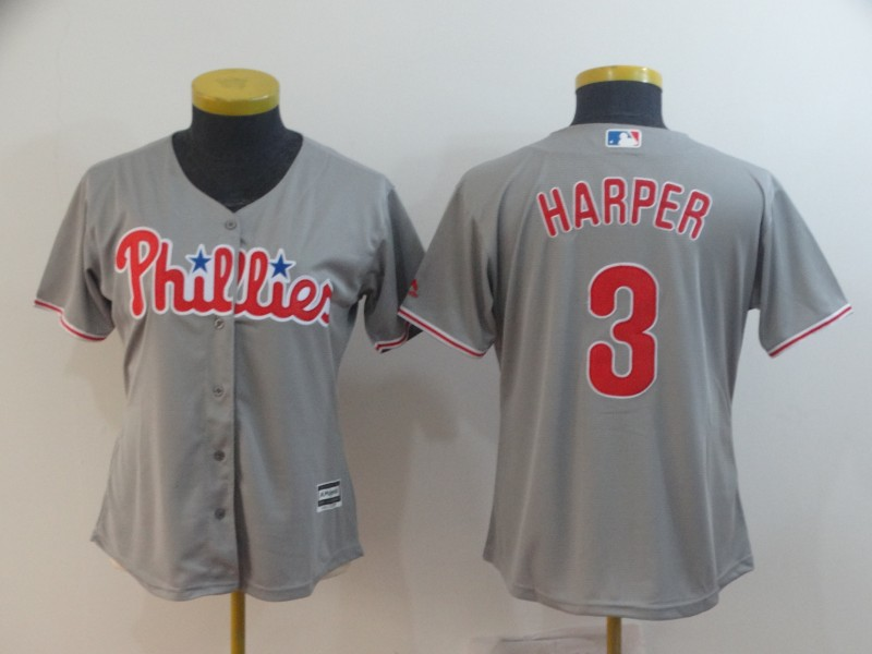 Phillies 3 Bryce Harper Gray Women Cool Base Jersey