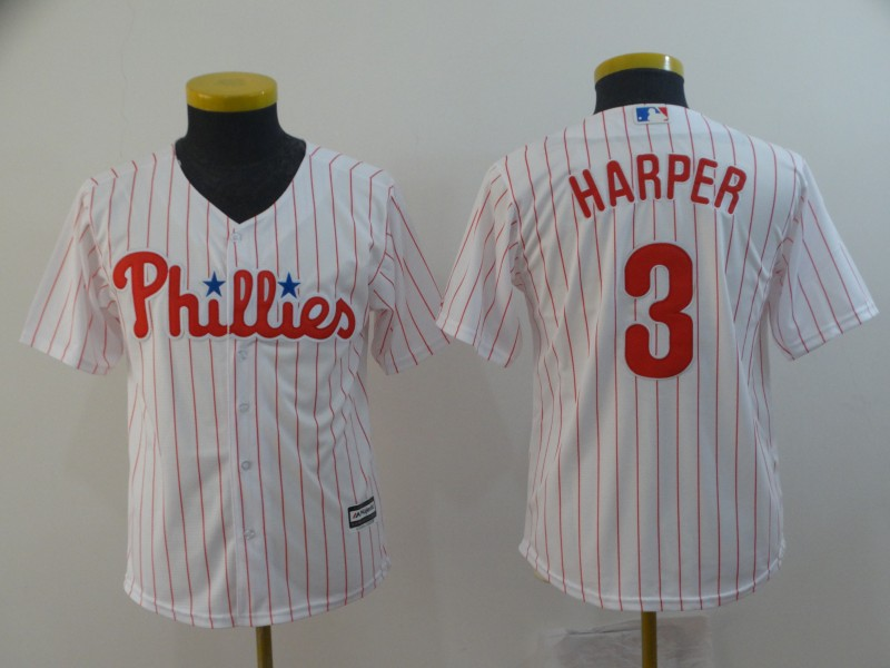 Phillies 3 Bryce Harper White Youth Cool Base Jersey
