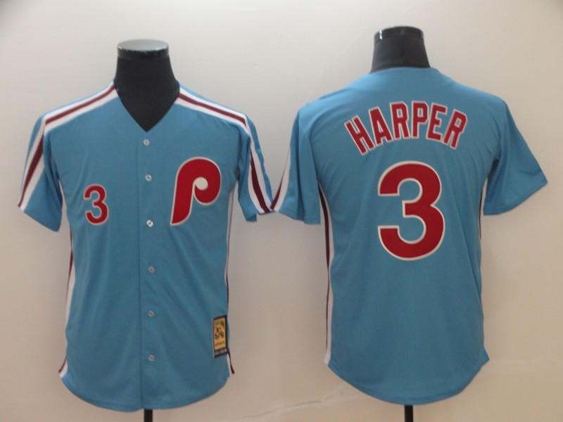 Phillies 3 Bryce Harper Women Light Blue Cool Base Cooperstown Jersey