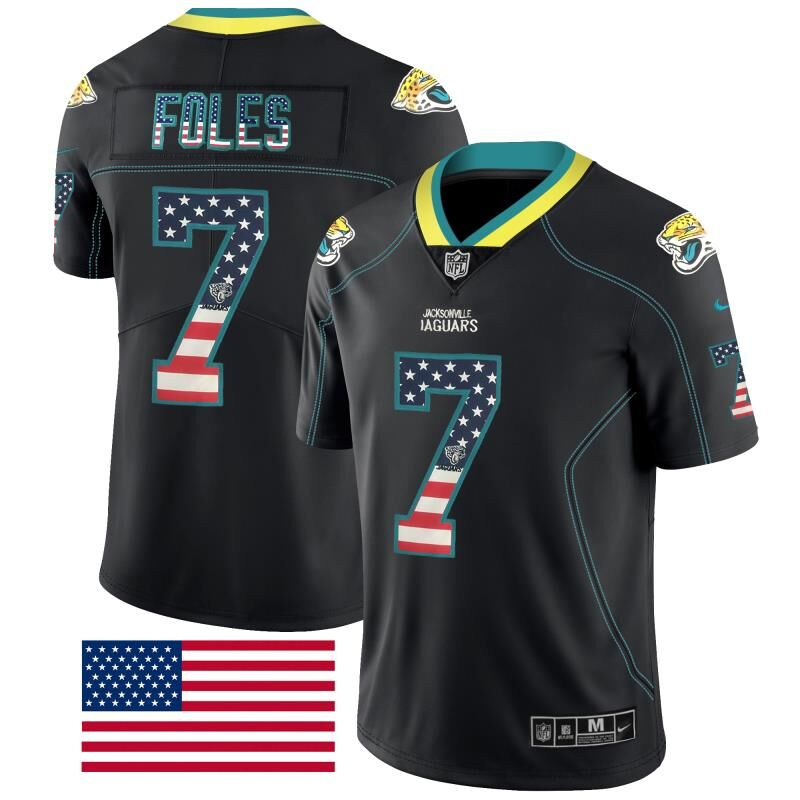 Nike Jaguars 7 Nick Foles Black USA Flag Fashion Limited Jersey