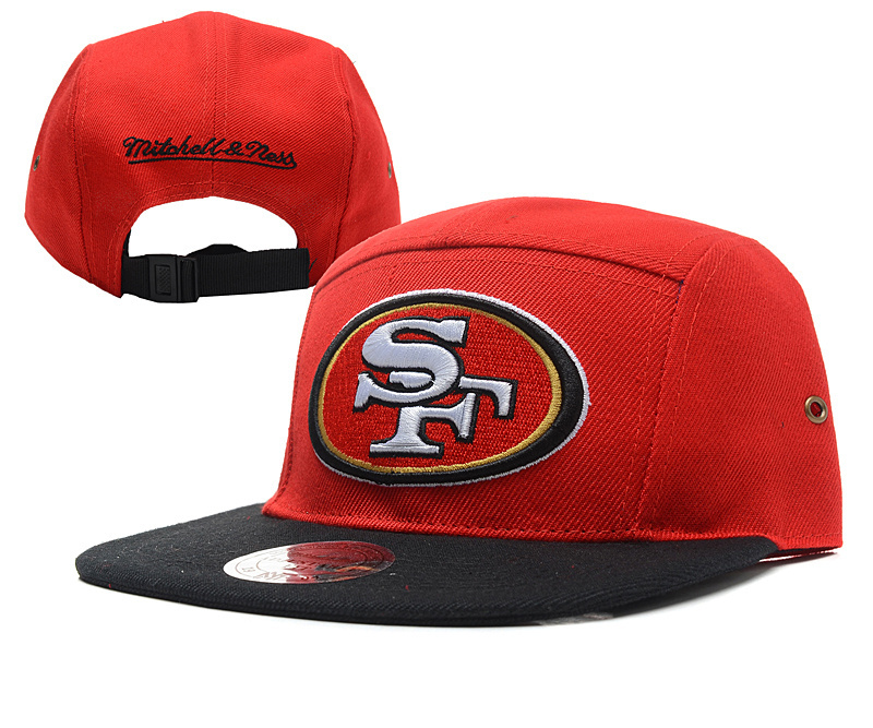 49ers Fresh Logo Red Mitchell & Ness Adjustable Hat YD