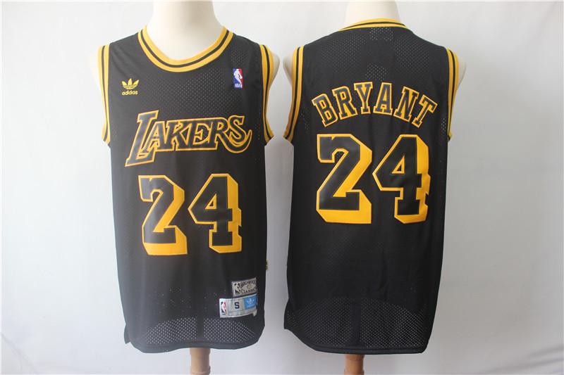 Lakers 24 Kobe Bryant Black Hardwood Classics Jersey