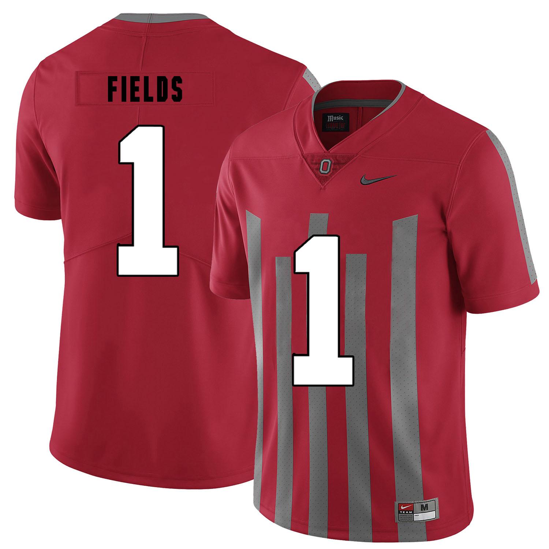 Ohio State Buckeyes 1 Justin Fields Red Elite Nike College Football Jersey