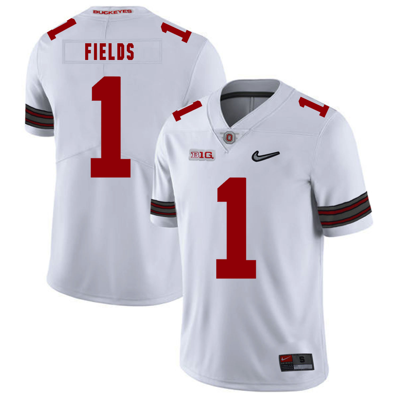 Ohio State Buckeyes 1 Justin Fields White Nike College Football Jersey