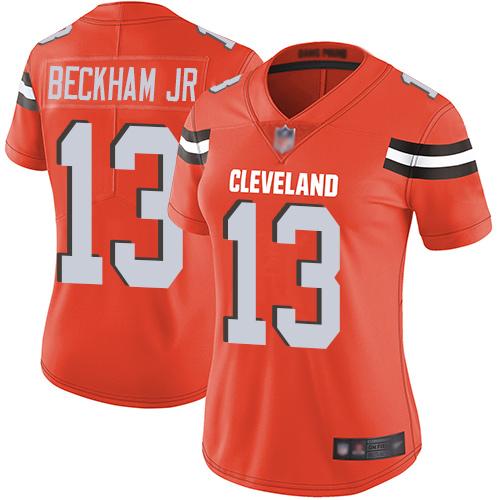 Nike Browns 13 Odell Beckham Jr Orange Women Vapor Untouchable Limited Jersey