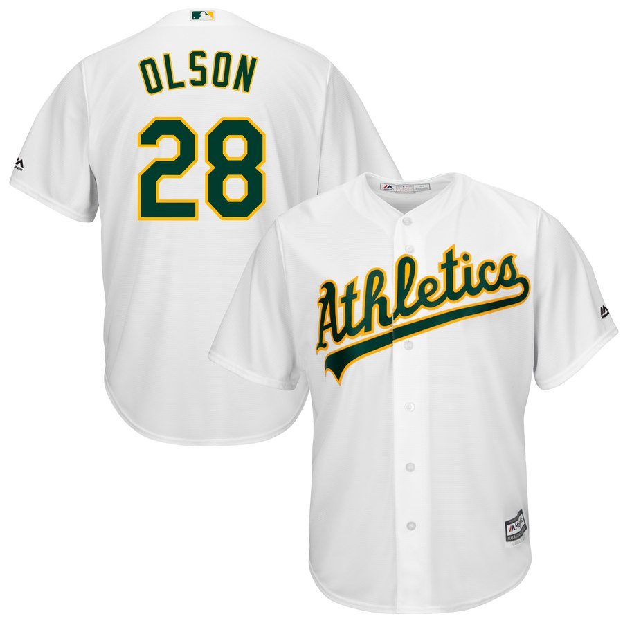 Athletics 28 Matt Olson White Cool Base Jersey