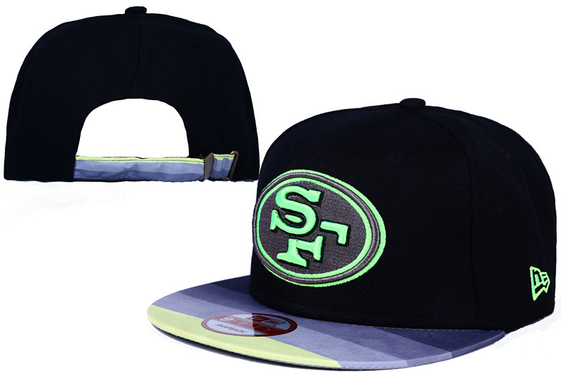 49ers Fresh Logo Black Adjustable Hat LT