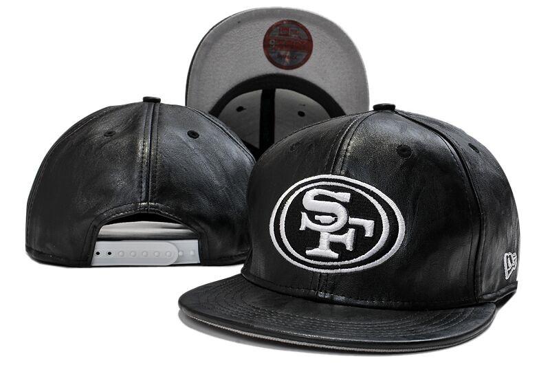 49ers Fresh Logo Black Leather Adjustable Hat LT