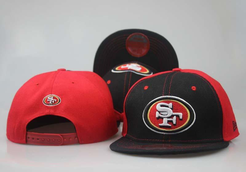 49ers Fresh Logo Black Red Adjustable Hat LT