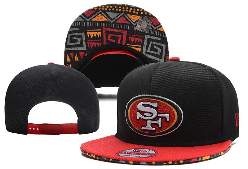 49ers Fresh Logo Black Red Adjustable Hat YD
