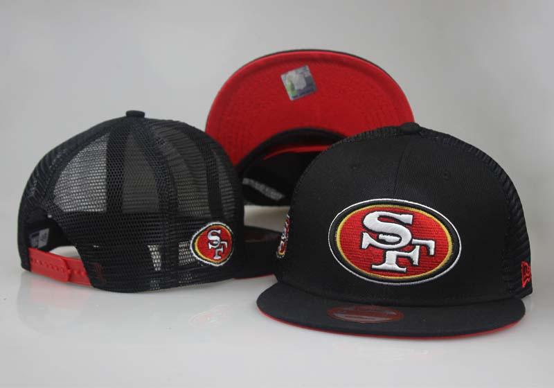 49ers Fresh Logo Black Red Hollow Carved Adjustable Hat LT