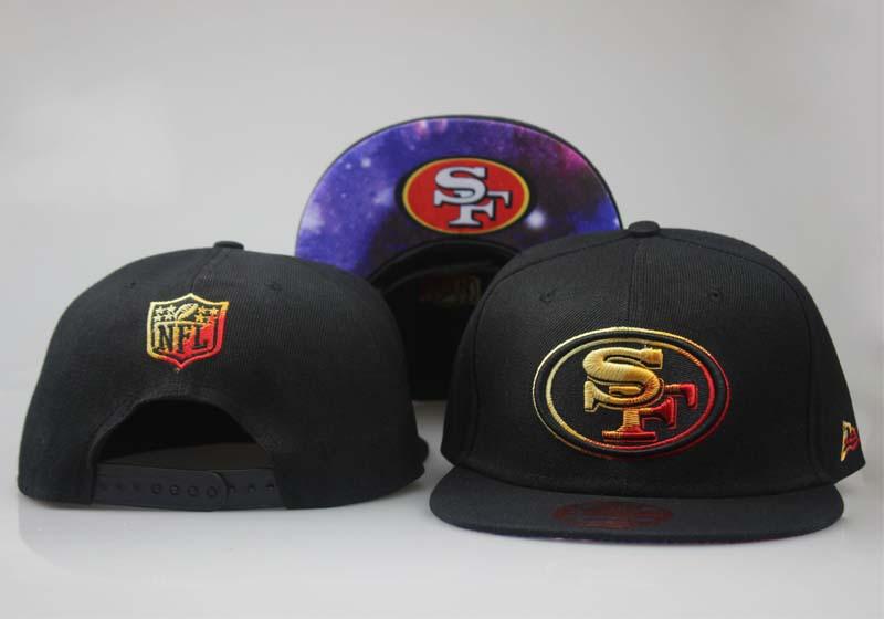 49ers Fresh Logo Black Starry Sky Adjustable Hat LT