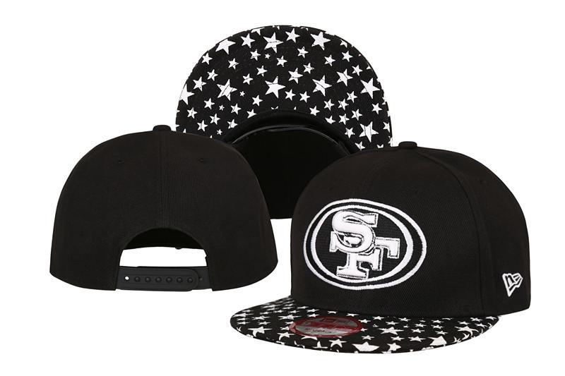49ers Fresh Logo Black With Star Adjustable Hat LT