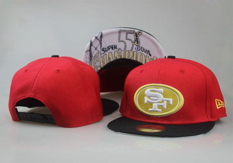 49ers Fresh Logo Red Black Adjustable Hat LT