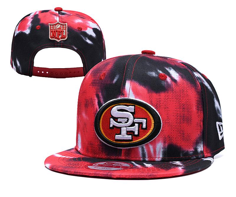 49ers Fresh Logo Red Black Adjustable Hat YD