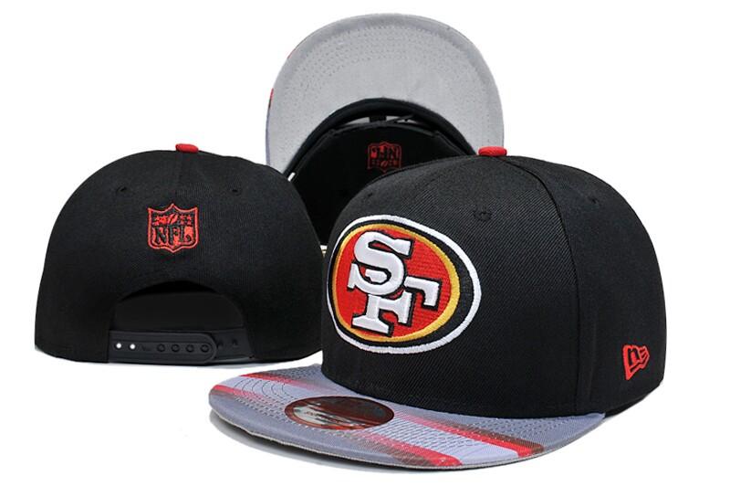 49ers Team Logo Black Red Adjustable Hat LT