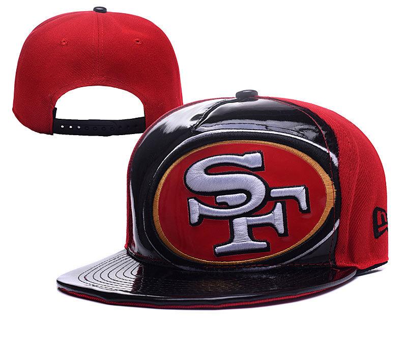 49ers Team Logo Black Red Adjustable Hat YD