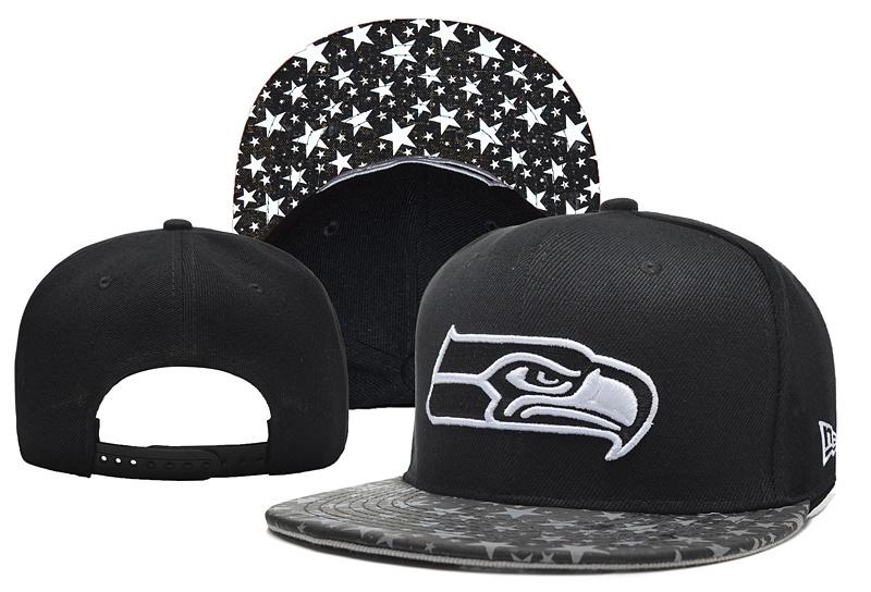 Seahawks Team Logo Black Stars Adjustable Hat YD
