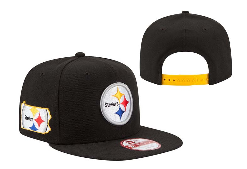 Steelers Fresh Logo ALL Black Adjustable Hat LT
