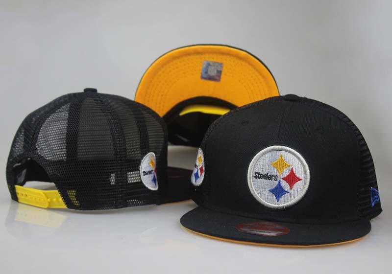 Steelers Fresh Logo Black Hollow Carved Adjustable Hat LT