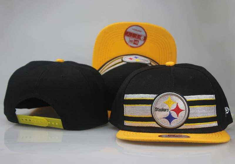 Steelers Fresh Logo Black Yellow Adjustable Hat LT