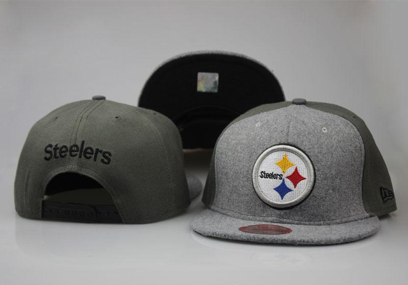 Steelers Team Logo Gray Olive Adjustable Hat LT