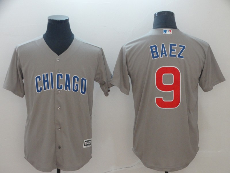 Cubs 9 Javier Baez Gray Cool Base Jersey