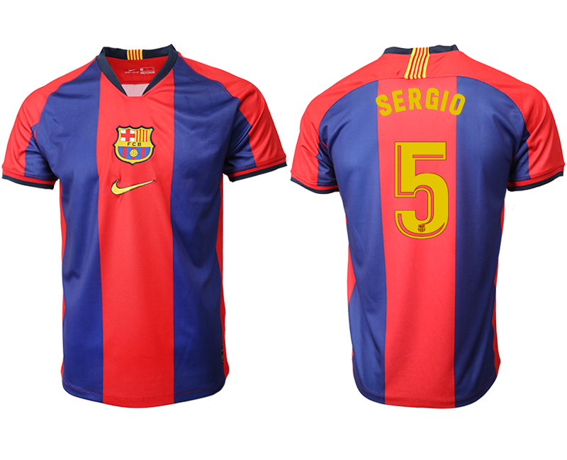 2019-20 Barcelona 5 SERGIO Home Thailand Soccer Jersey