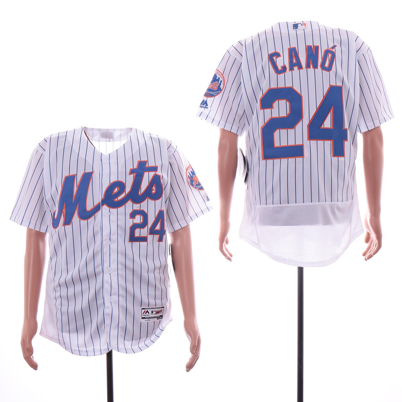 Mets 24 Robinson Cano White Flexbase Jersey