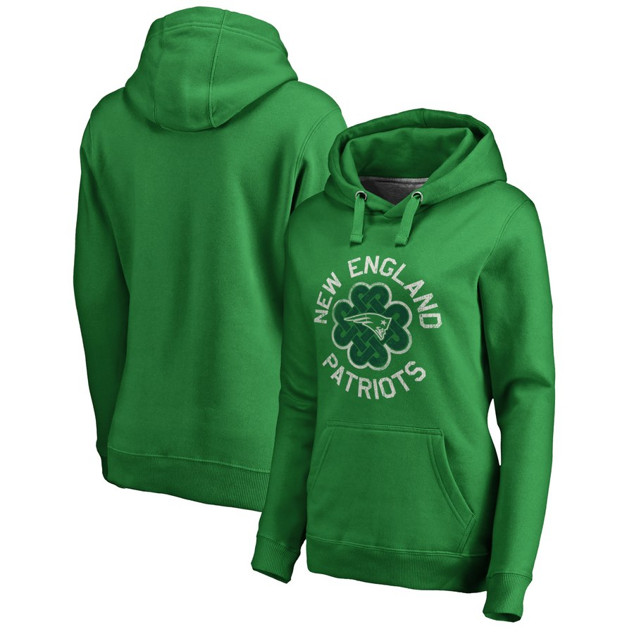 New England Patriots NFL Pro Line by Fanatics Branded Women's St. Patrick's Day Luck Tradition Pullover Hoodie Kelly Green