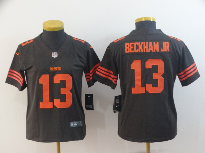 Nike Browns 13 Odell Beckham Jr Brown Women Color Rush Limited Jersey