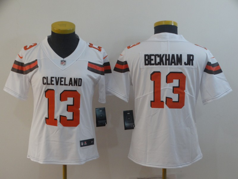 Nike Browns 13 Odell Beckham Jr White Women Vapor Untouchable Limited Jersey