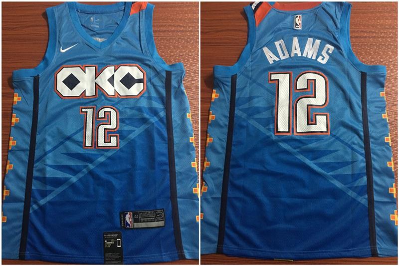 Thunder 12 Steven Adams Blue City Edition Nike Swingman Jersey