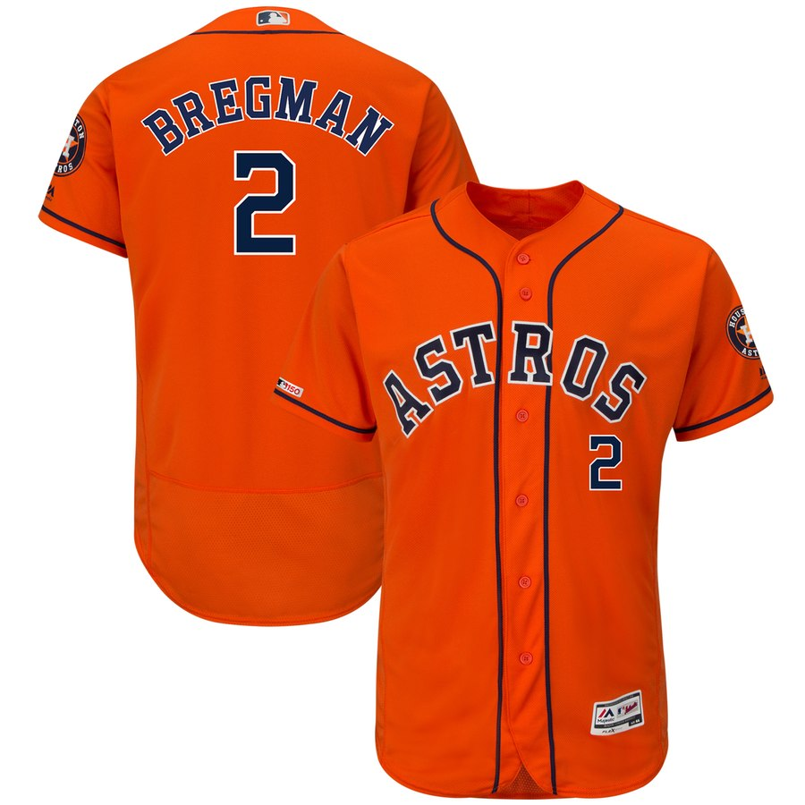 Astros 2 Alex Bregman Orange 150th Patch Flexbase Jersey