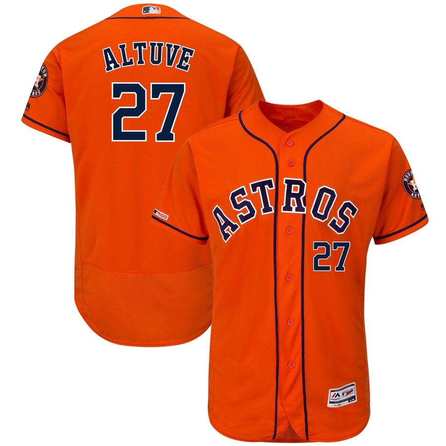 Astros 27 Jose Altuve Orange 150th Patch Flexbase Jersey