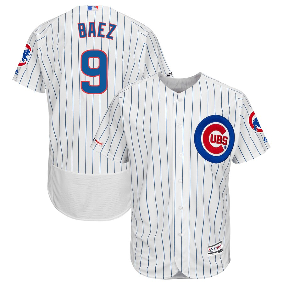 Cubs 9 Javier Baez White 150th Patch Flexbase Jersey