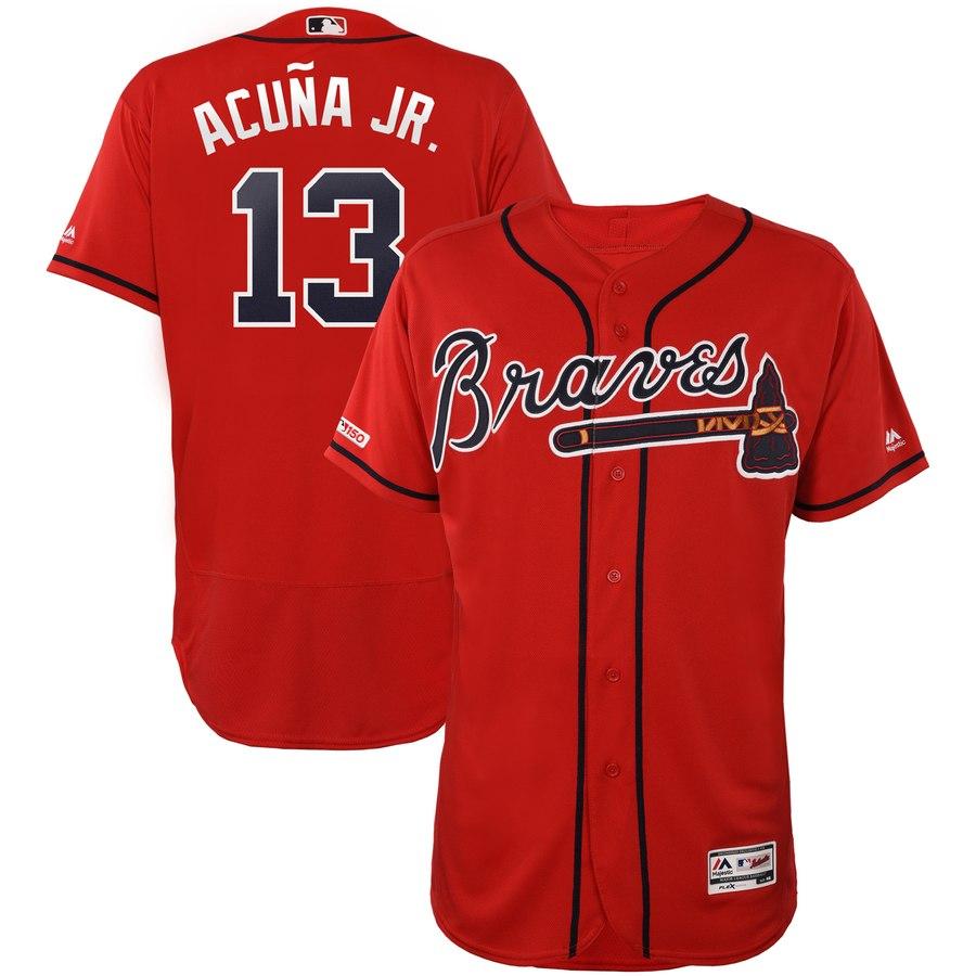 Braves Ronald Acuna Jr Scarlet 150th Patch Flexbase Jersey