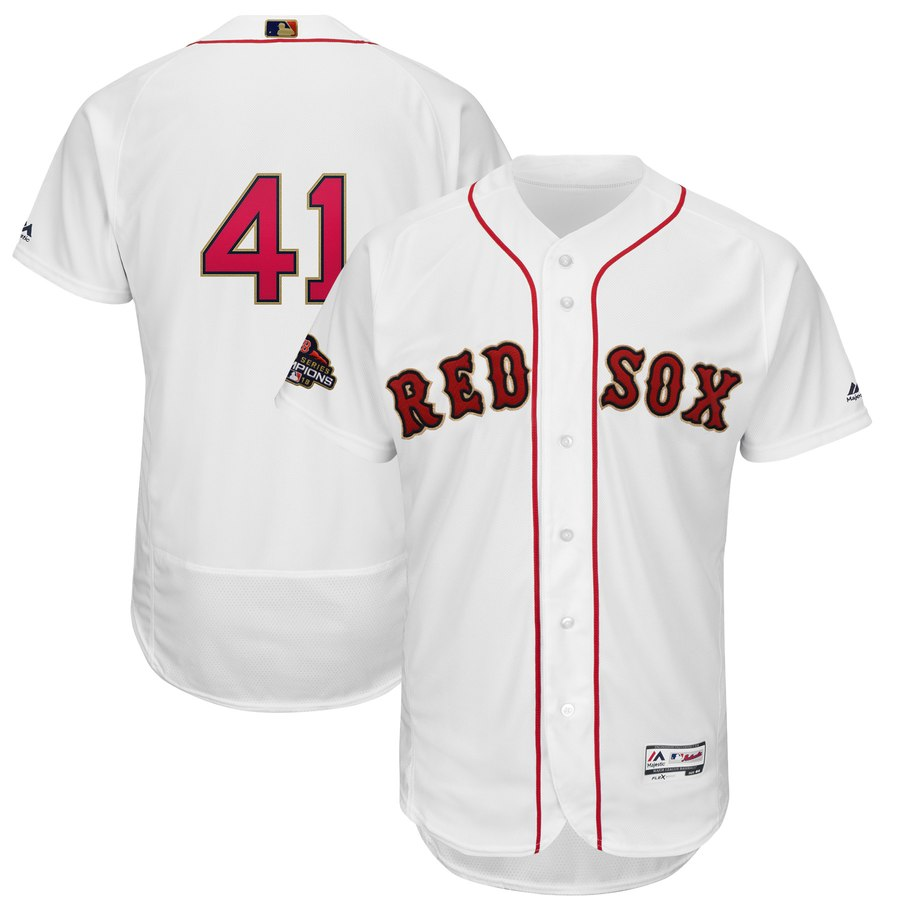 Red Sox 41 Chris Sale White Youth 2019 Gold Program FlexBase Jersey