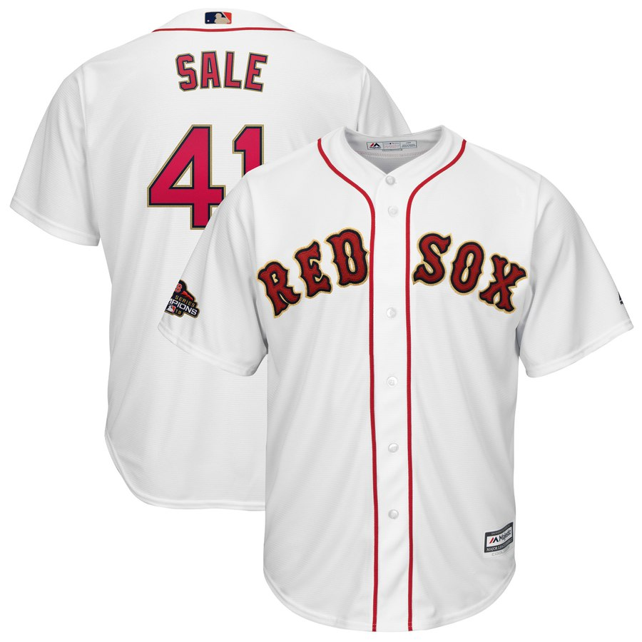 Red Sox 41 Chris Sale Youth White 2019 Gold Program Cool Base Jersey