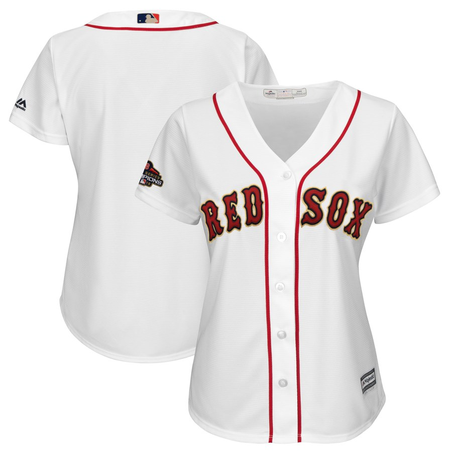 Red Sox Blank White Women 2019 Gold Program Cool Base Jersey