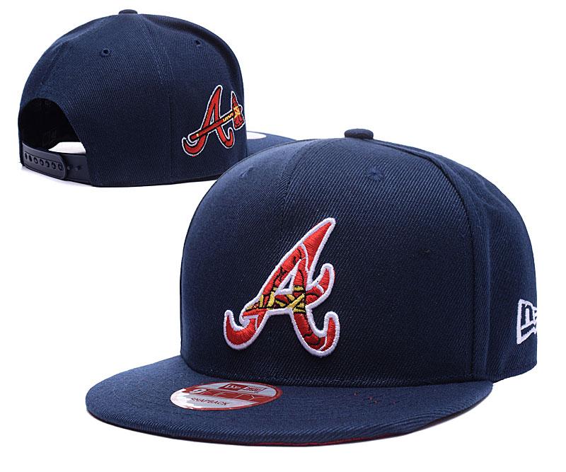 Braves Team Logo Black Peaked Adjustable Hat LH