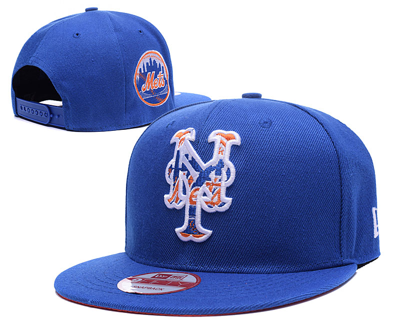 Mets Team Logo Blue Peaked Adjustable Hat LH