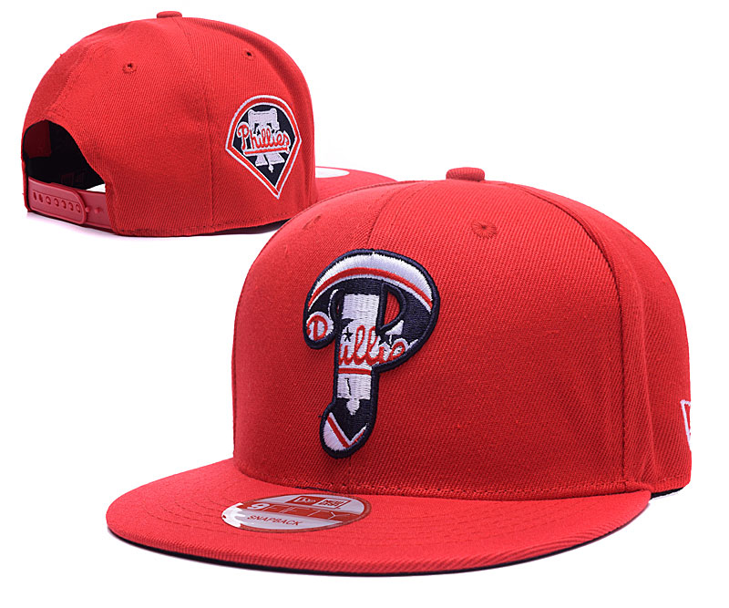 Phillies Team Logo Red Peaked Adjustable Hat LH