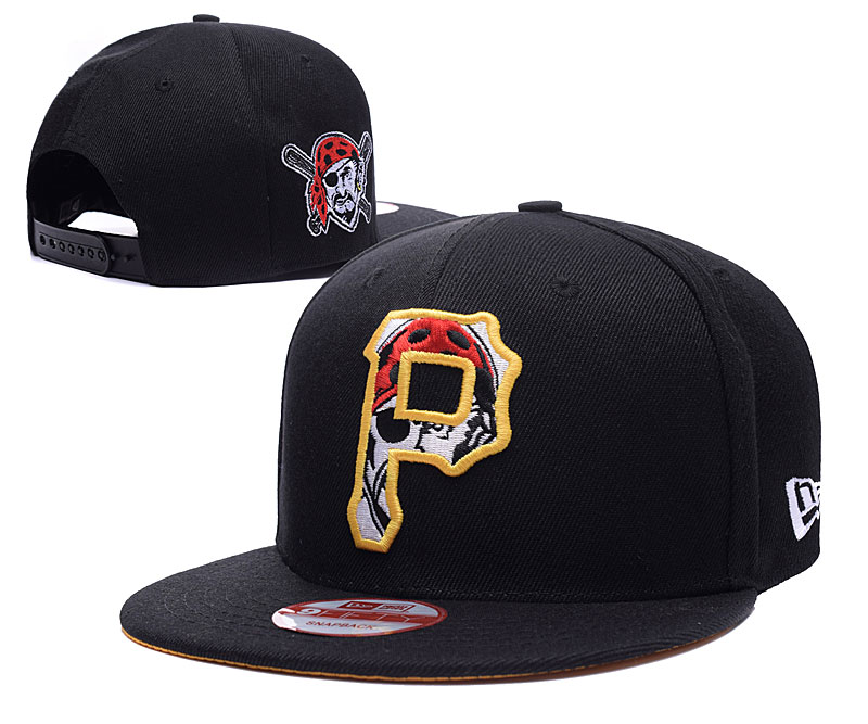 Pirates Team Logo Black Peaked Adjustable Hat LH