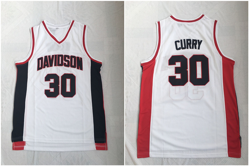 Davidson Wildcat 30 Stephen Curry White Stitched College Basketball Jersey