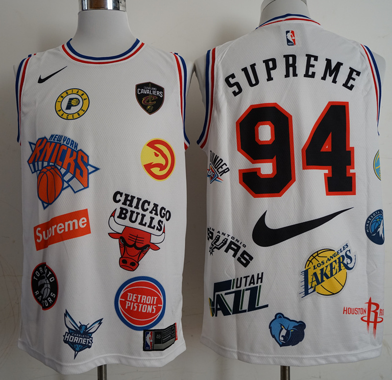 Supreme x Nike x NBA Logos White Stitched Basketball Jersey