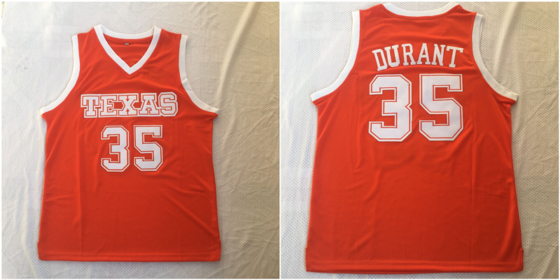 Texas Longhorns 35 Kevin Durant Orange Stitched College Basketball Jersey