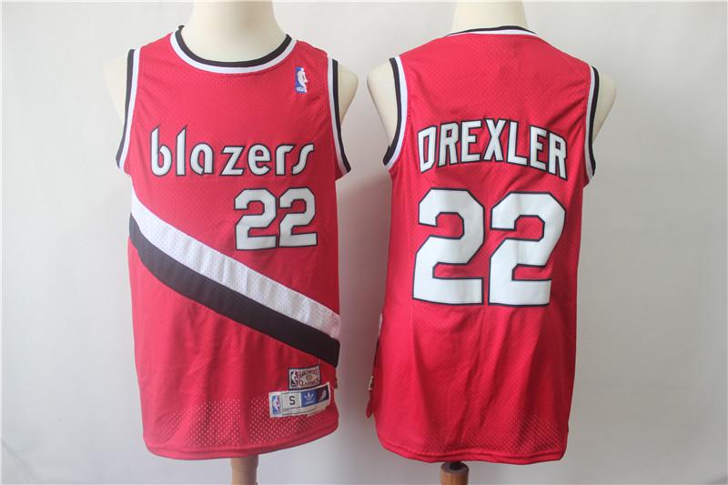 Blazers 22 Clyde Drexler Red Hardwood Classics Swingman Jersey