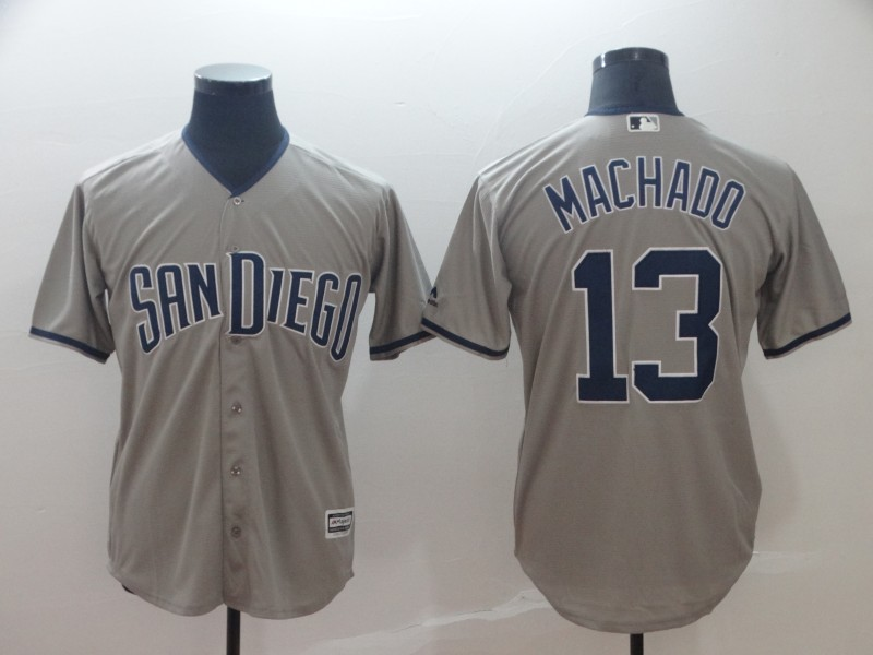 Padres 13 Manny Machado Gray Cool Base Jersey
