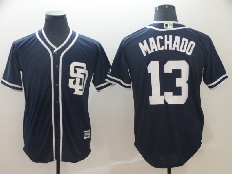 Padres 13 Manny Machado Navy Cool Base Jersey